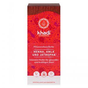 Rastlinná farba na vlasy Henna, Amla a Jatropha 100 g Khadi