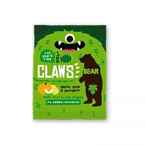 Claws želé pazúriky Jablko, Hruška a Tekvica 18g Bear bezlepkové vegán