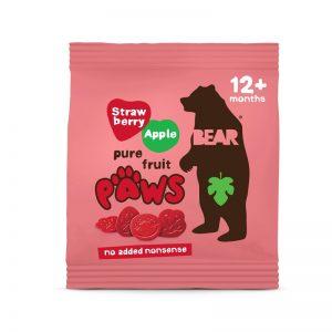 Paws želé labky Jahody a Jablko 20g Bear bezlepkové vegán